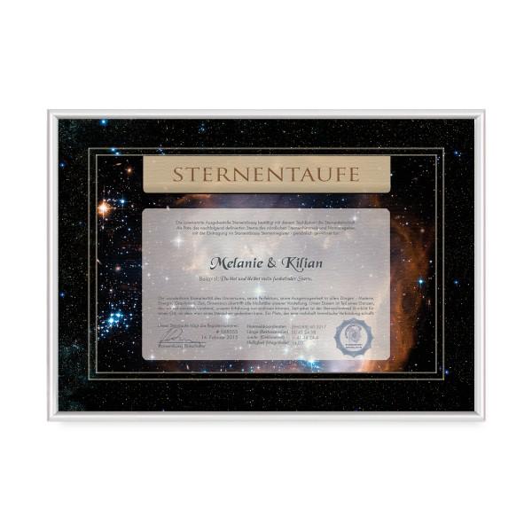 Sternentaufe gerahmtes Zertifikat